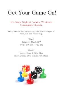 Get Your Game On! Flyer